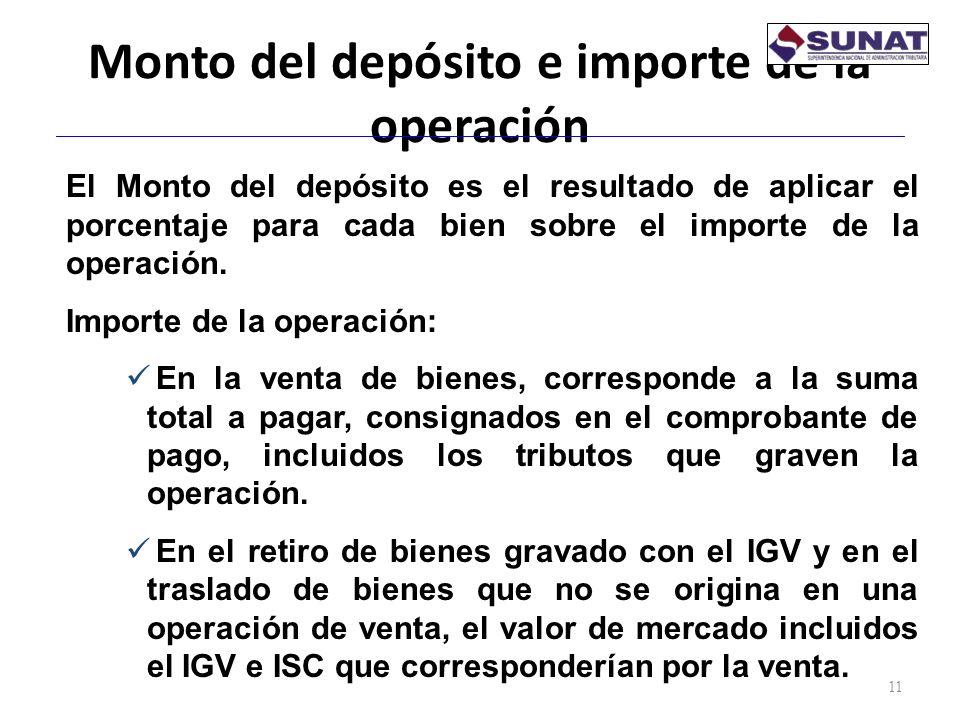 Monto del depósito e importe de la operación 11 El Monto del depósito es el resultado de aplicar el porcentaje para cada bien sobre el importe de la o