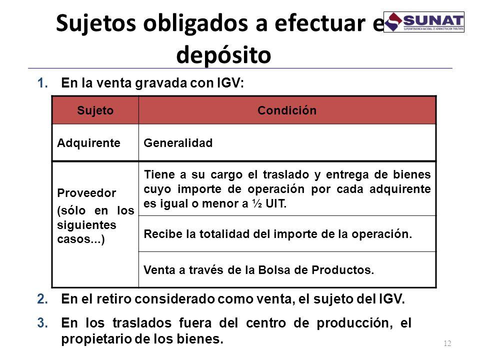Sujetos obligados a efectuar el depósito 12 SujetoCondición AdquirenteGeneralidad Proveedor (sólo en los siguientes casos...) Tiene a su cargo el tras