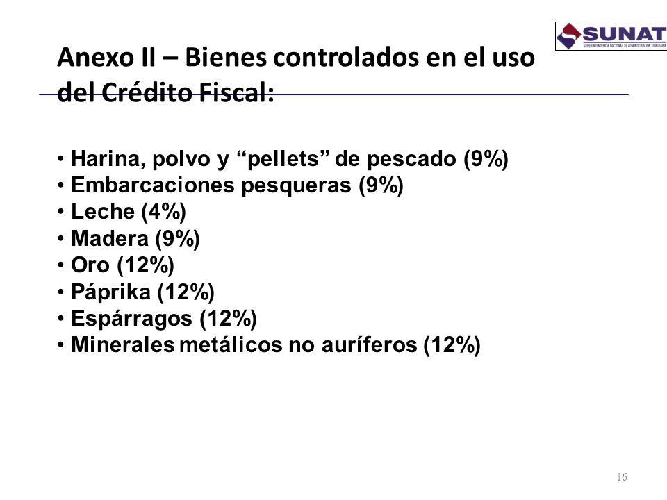 Anexo II – Bienes controlados en el uso del Crédito Fiscal: 16 Harina, polvo y pellets de pescado (9%) Embarcaciones pesqueras (9%) Leche (4%) Madera
