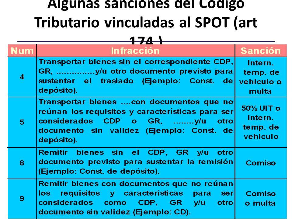 Algunas sanciones del Código Tributario vinculadas al SPOT (art 174.) 19