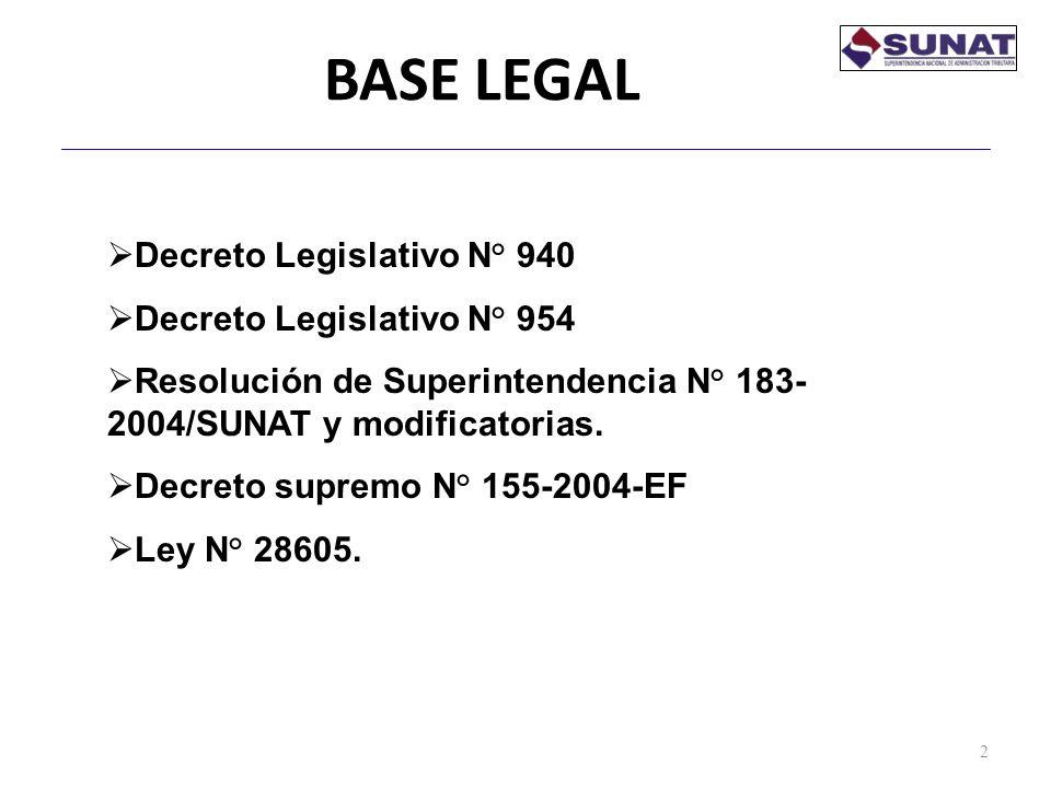 BASE LEGAL 2 Decreto Legislativo N° 940 Decreto Legislativo N° 954 Resolución de Superintendencia N° 183- 2004/SUNAT y modificatorias. Decreto supremo