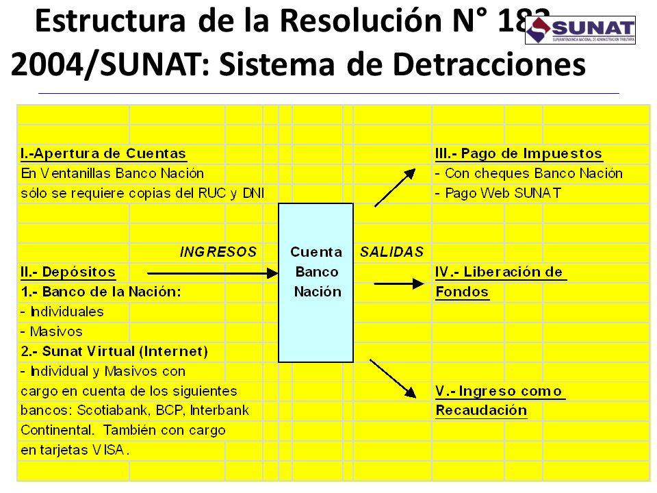 Estructura de la Resolución N° 183- 2004/SUNAT: Sistema de Detracciones 6