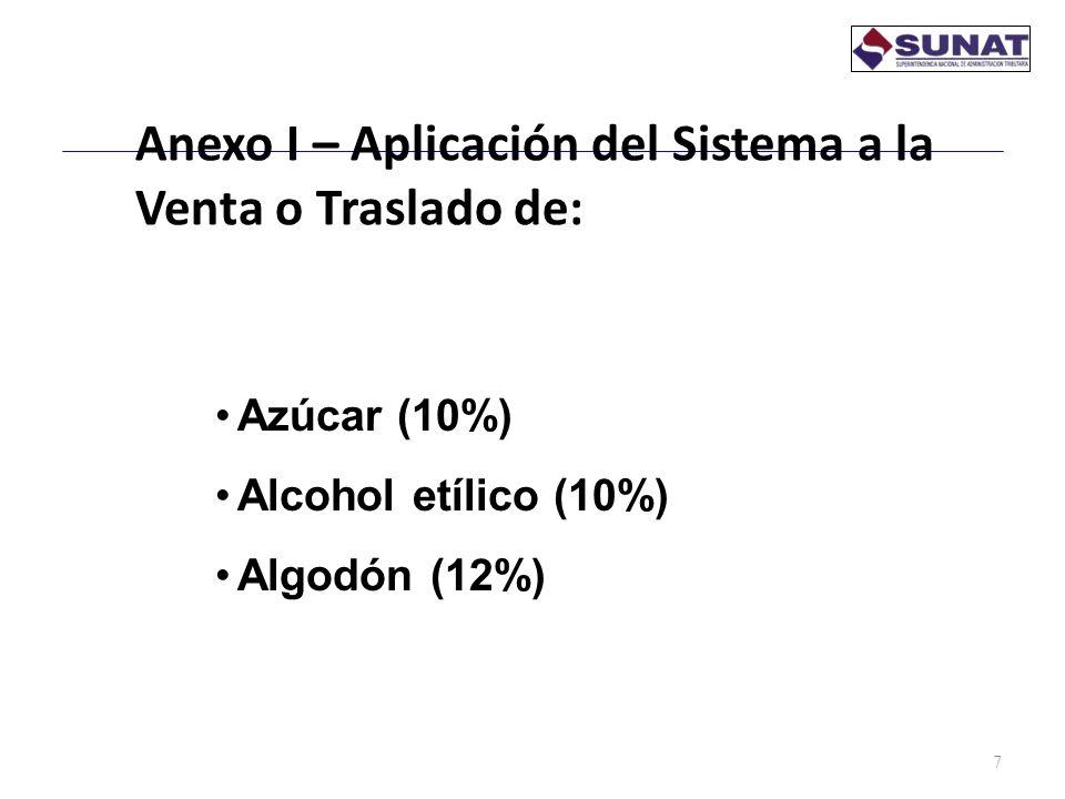 Anexo I – Aplicación del Sistema a la Venta o Traslado de: 7 Azúcar (10%) Alcohol etílico (10%) Algodón (12%)
