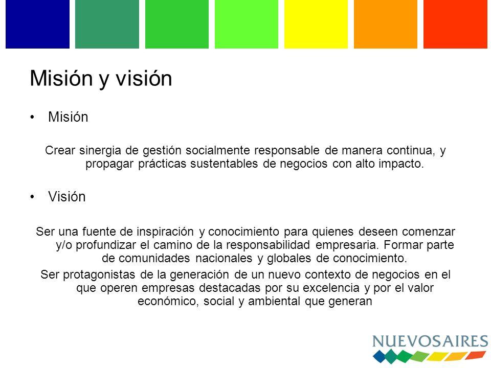 Misión y visión Misión Crear sinergia de gestión socialmente responsable de manera continua, y propagar prácticas sustentables de negocios con alto impacto.