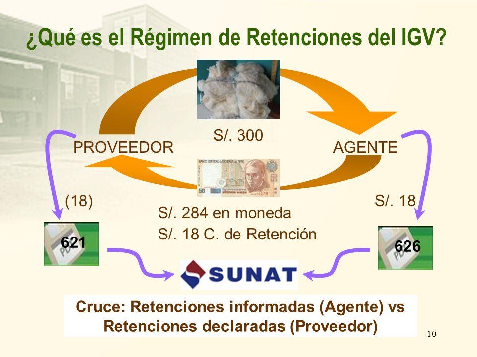 10 ¿Qué es el Régimen de Retenciones del IGV? S/. 284 en moneda S/. 18 C. de Retención S/. 300 PROVEEDORAGENTE S/. 18 626 621 Cruce: Retenciones infor