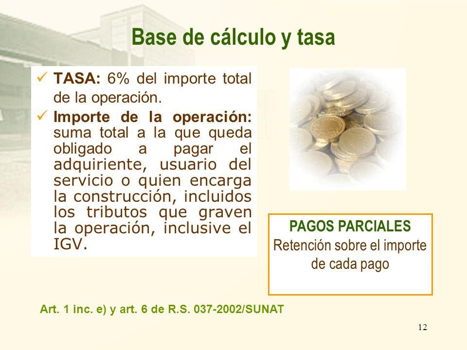 12 TASA: 6% del importe total de la operación. Importe de la operación: suma total a la que queda obligado a pagar el adquiriente, usuario del servici