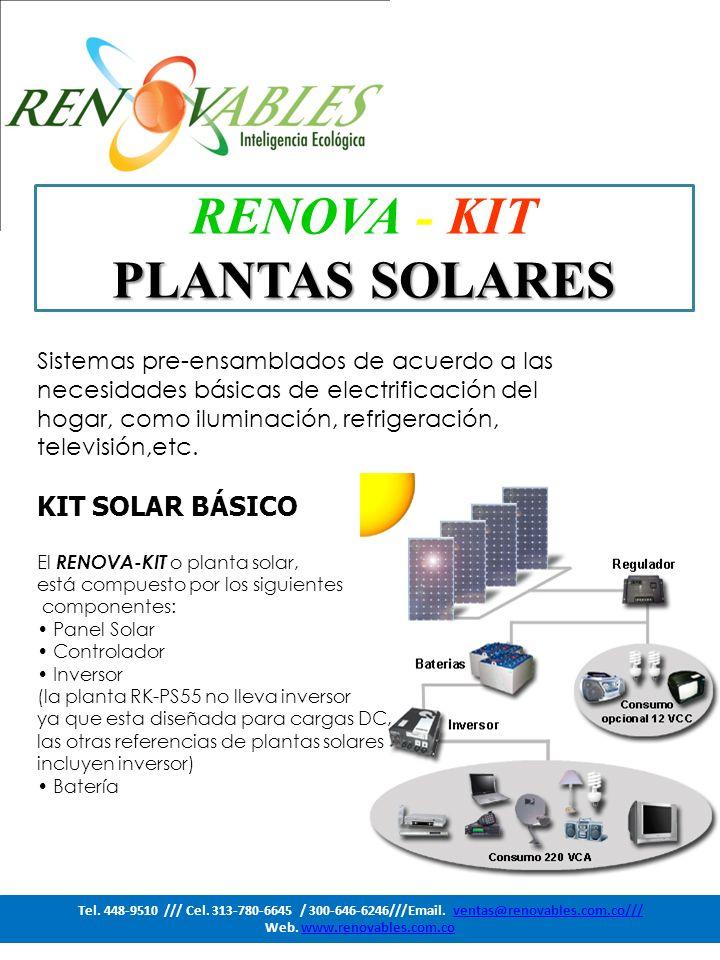 PLANTAS SOLARES Y CAPACIDADES ModeloEnergía generada diaria Wh/Día 2 Potencia del inversor Voltaje de Operación RK-PS60 120-12 Vdc RK-PS85 170240 W12 Vdc RK-PS135 280250 W12 Vdc RK-PS170 340250 W12 Vdc RK-PS270 731300 W24 Vdc RK-PS370 1000300 W24 Vdc RK-PS555 1500600 W24 Vdc RK-PS740 2000600 W24 Vdc RK-PS1110 30001000 W24 Vdc RK-PS1480 40501500 W24 Vdc RK-PS1665 45501500 W24 Vdc RK-PS2220 60603000 W48 Vdc RK-PS2960 81003000 W48 Vdc RK-PS3330 90603000 W48 Vdc RK-PS4440 121203000 W48 Vdc Tel.