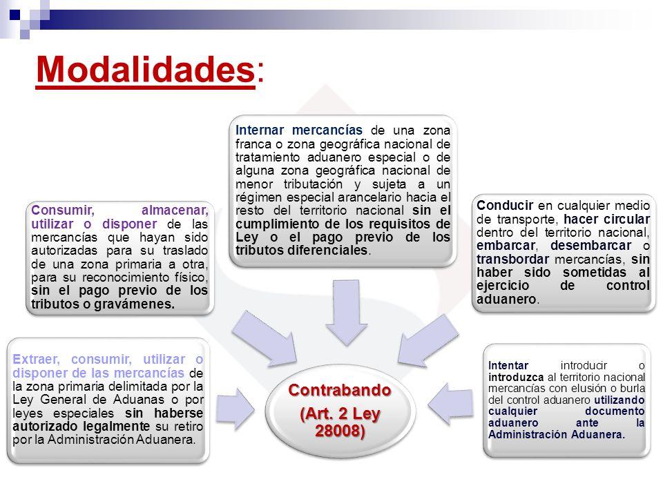 Modalidades: Contrabando (Art. 2 Ley 28008) Extraer, consumir, utilizar o disponer de las mercancías de la zona primaria delimitada por la Ley General