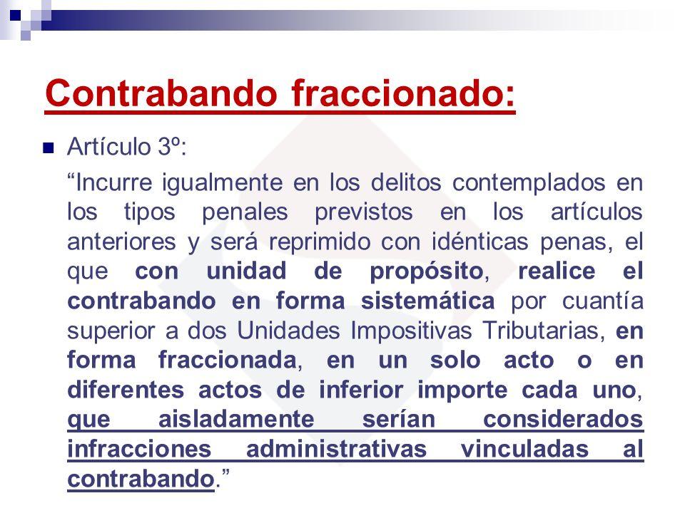 Contrabando fraccionado: Artículo 3º: Incurre igualmente en los delitos contemplados en los tipos penales previstos en los artículos anteriores y será