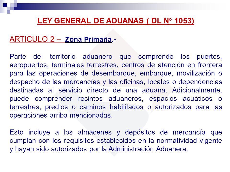 LEY GENERAL DE ADUANAS ( DL N° 1053) ARTICULO 2 – Zona Primaria.- Parte del territorio aduanero que comprende los puertos, aeropuertos, terminales ter