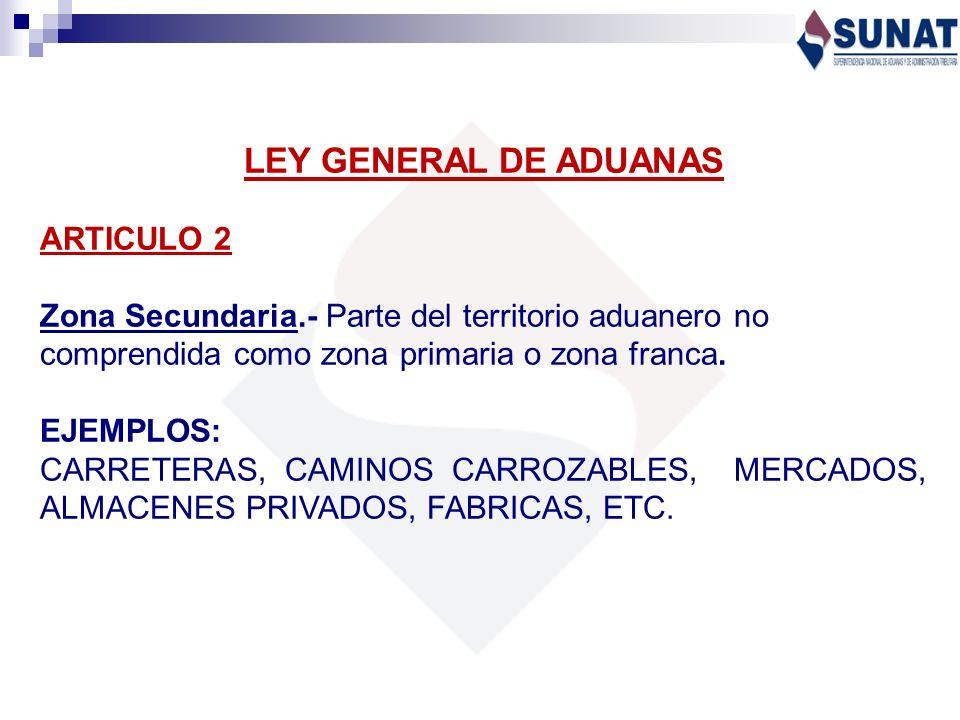LEY GENERAL DE ADUANAS ARTICULO 2 Zona Secundaria.- Parte del territorio aduanero no comprendida como zona primaria o zona franca. EJEMPLOS: CARRETERA