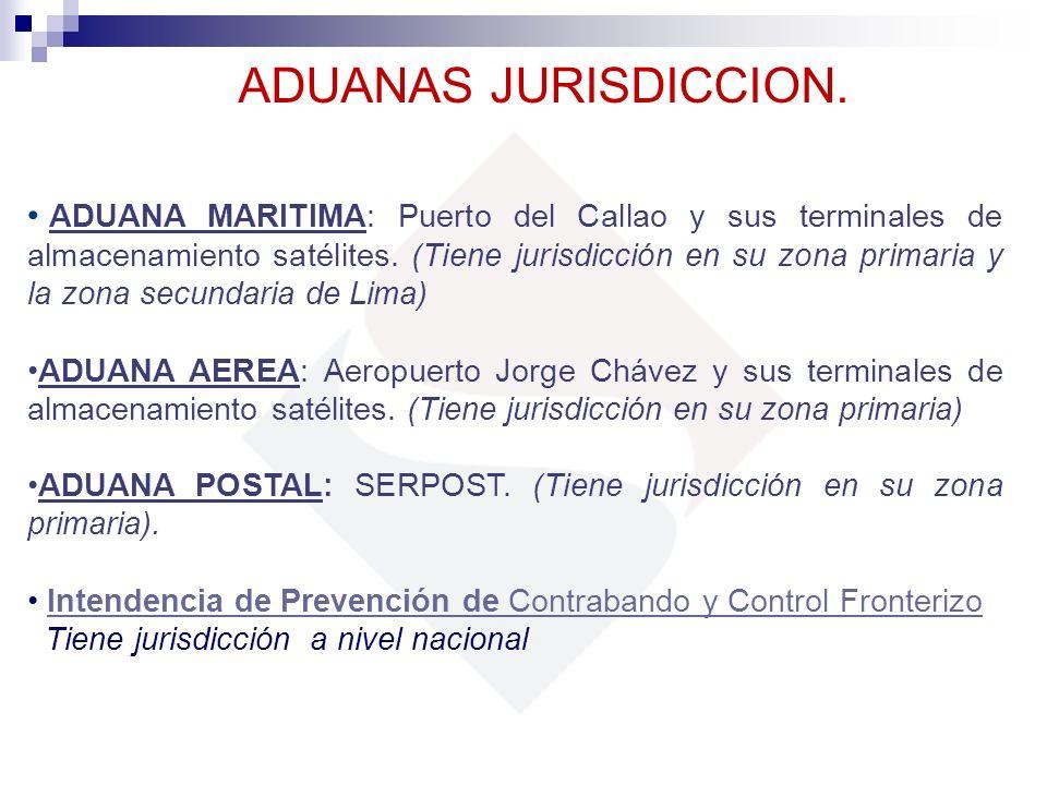 ADUANAS JURISDICCION. ADUANA MARITIMA: Puerto del Callao y sus terminales de almacenamiento satélites. (Tiene jurisdicción en su zona primaria y la zo