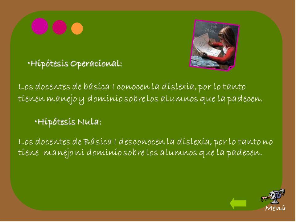 Hipótesis Operacional:Hipótesis Operacional: Los docentes de básica I conocen la dislexia, por lo tanto tienen manejo y dominio sobre los alumnos que