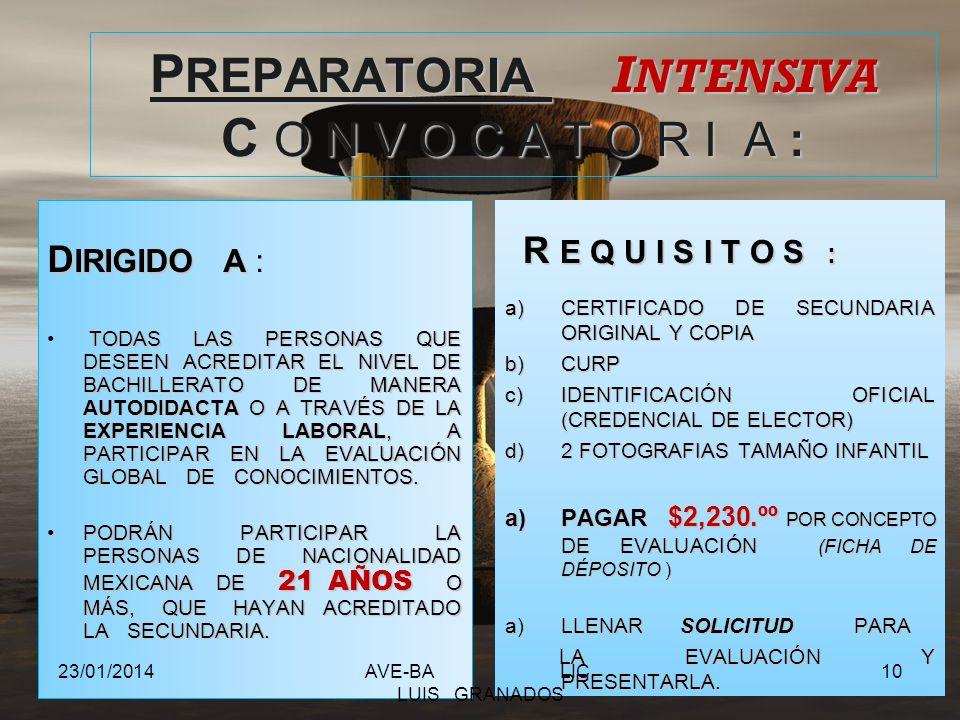 CERTIFICADO S E P 23/01/2014AVE-BA LIC. LUIS GRANADOS 9