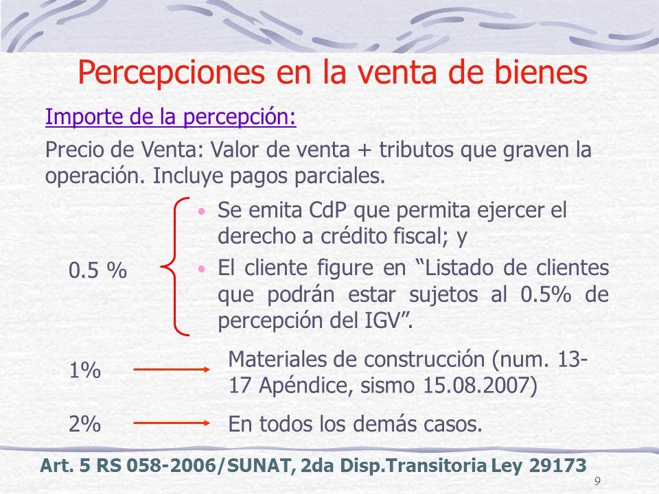 9 Art. 5 RS 058-2006/SUNAT, 2da Disp.Transitoria Ley 29173 Importe de la percepción: Se emita CdP que permita ejercer el derecho a crédito fiscal; y E