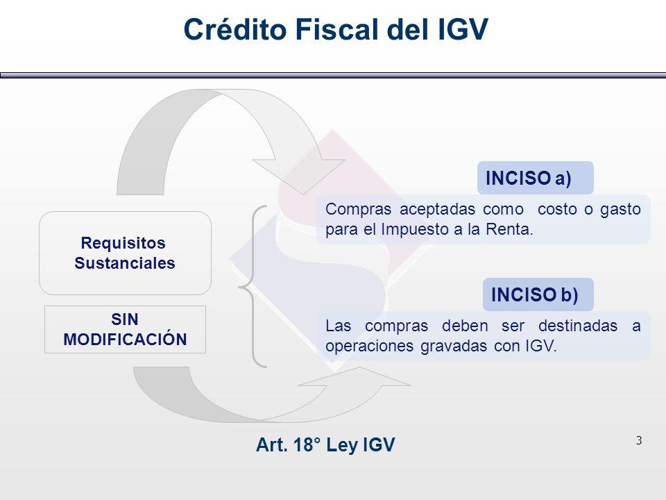Requisitos Sustanciales Crédito Fiscal del IGV Art. 18° Ley IGV 3 SIN MODIFICACIÓN INCISO a) INCISO b) Compras aceptadas como costo o gasto para el Im