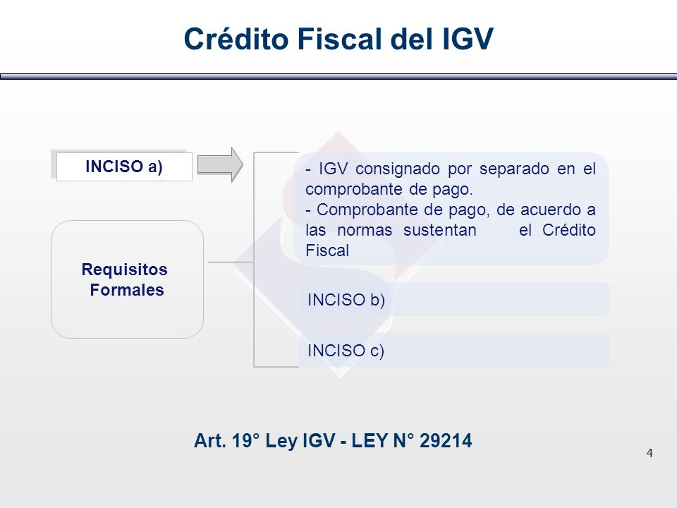 Crédito Fiscal del IGV Art. 19° Ley IGV - LEY N° 29214 4 Requisitos Formales INCISO a) - IGV consignado por separado en el comprobante de pago. - Comp
