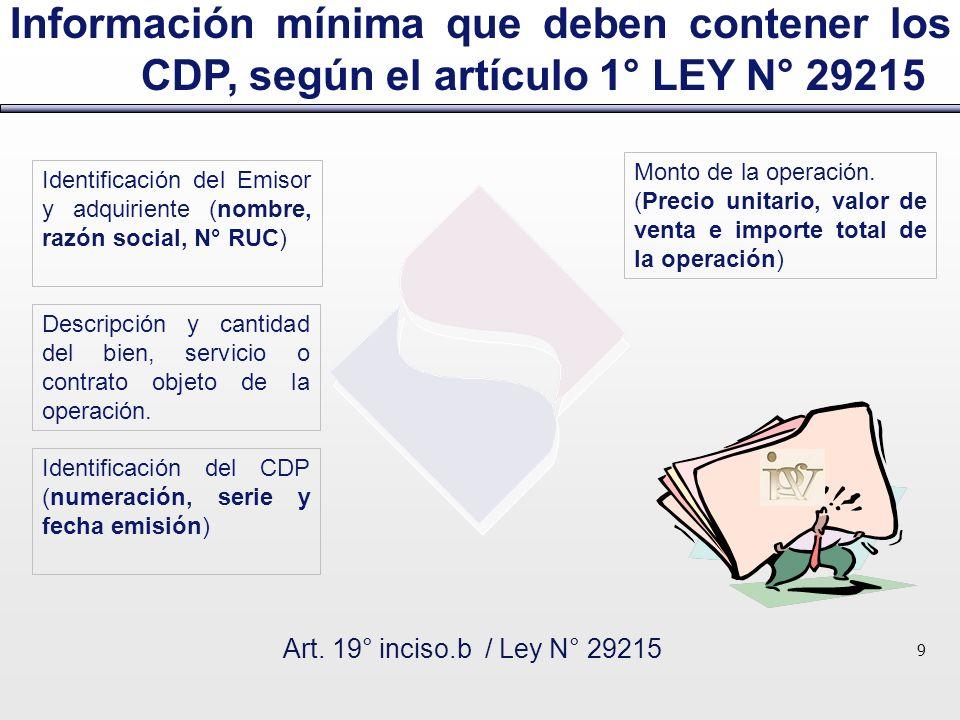 Información mínima que deben contener los CDP, según el artículo 1° LEY N° 29215 Art. 19° inciso.b / Ley N° 29215 9 Monto de la operación. (Precio uni