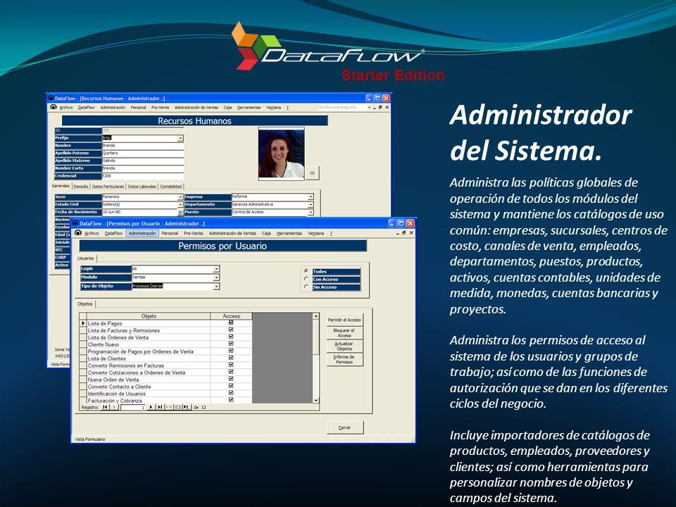 Incluye: Licencia para una empresa de 7 módulos DataFlow ERP: Administrador del Sistema Ventas, Compras, Inventarios, Distribución, Cuentas por Pagar y Cuentas por Cobrar.