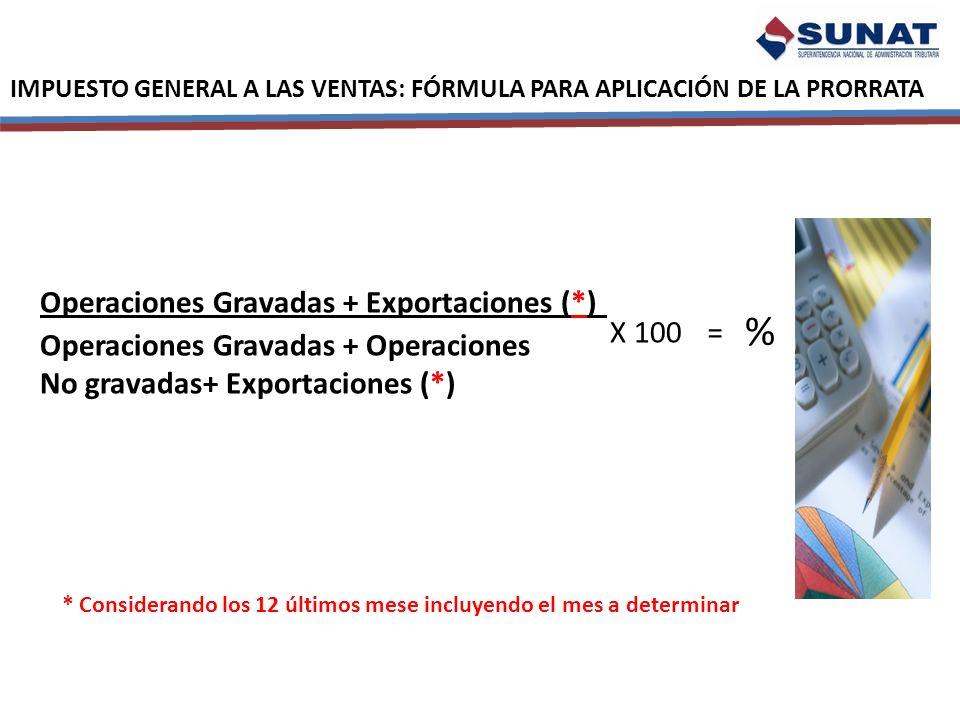 IMPUESTO GENERAL A LAS VENTAS: FÓRMULA PARA APLICACIÓN DE LA PRORRATA Operaciones Gravadas + Exportaciones (*) Operaciones Gravadas + Operaciones No g
