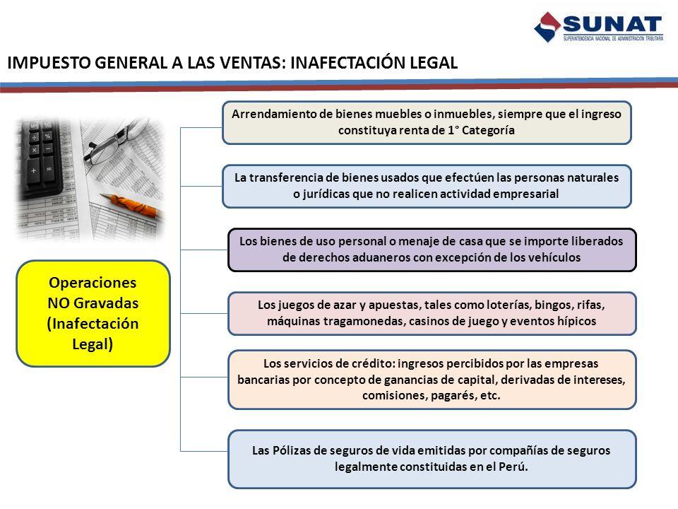 IMPUESTO GENERAL A LAS VENTAS: INAFECTACIÓN LEGAL Operaciones NO Gravadas (Inafectación Legal) Arrendamiento de bienes muebles o inmuebles, siempre qu