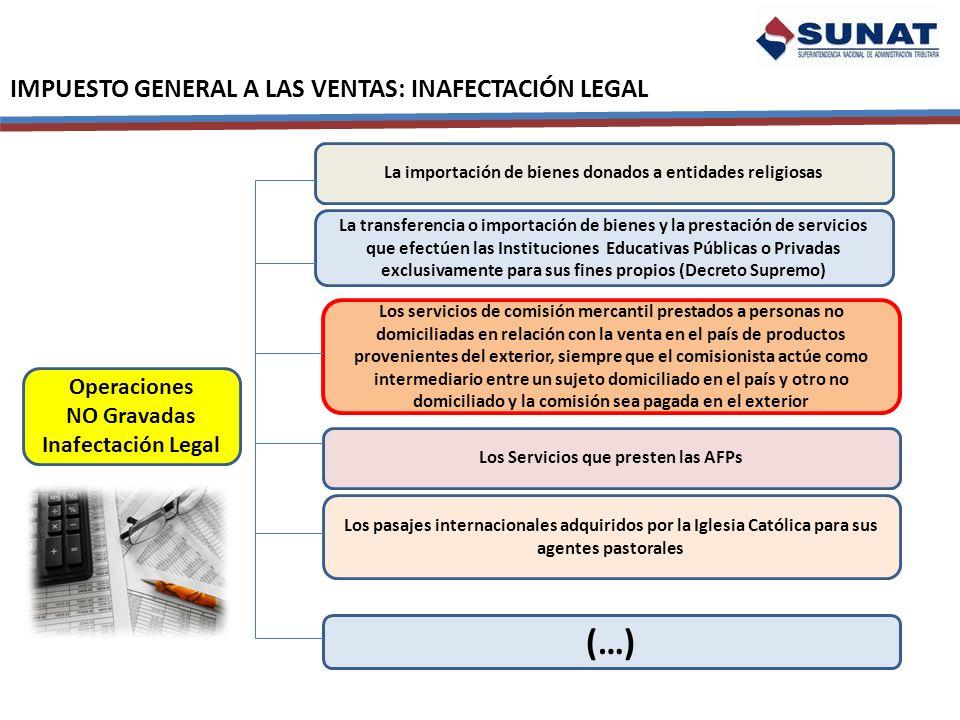 IMPUESTO GENERAL A LAS VENTAS: INAFECTACIÓN LEGAL Operaciones NO Gravadas Inafectación Legal La importación de bienes donados a entidades religiosas L