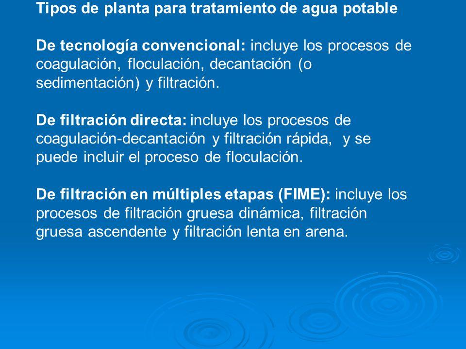 Tipos de planta para tratamiento de agua potable De tecnología convencional: incluye los procesos de coagulación, floculación, decantación (o sedimentación) y filtración.
