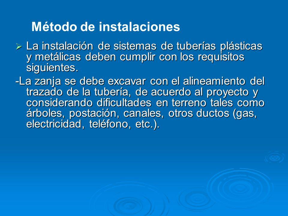 La instalación de sistemas de tuberías plásticas y metálicas deben cumplir con los requisitos siguientes. La instalación de sistemas de tuberías plást