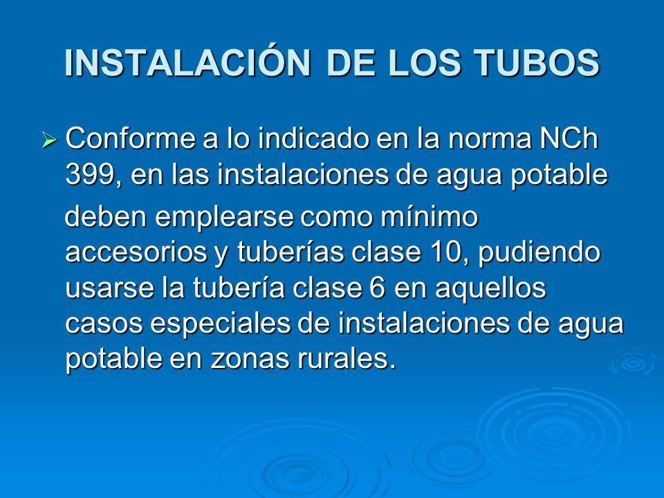 INSTALACIÓN DE LOS TUBOS Conforme a lo indicado en la norma NCh 399, en las instalaciones de agua potable Conforme a lo indicado en la norma NCh 399,
