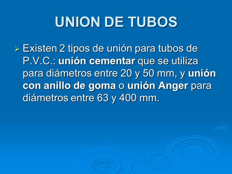 UNION DE TUBOS Existen 2 tipos de unión para tubos de P.V.C.: unión cementar que se utiliza para diámetros entre 20 y 50 mm, y unión con anillo de goma o unión Anger para diámetros entre 63 y 400 mm.
