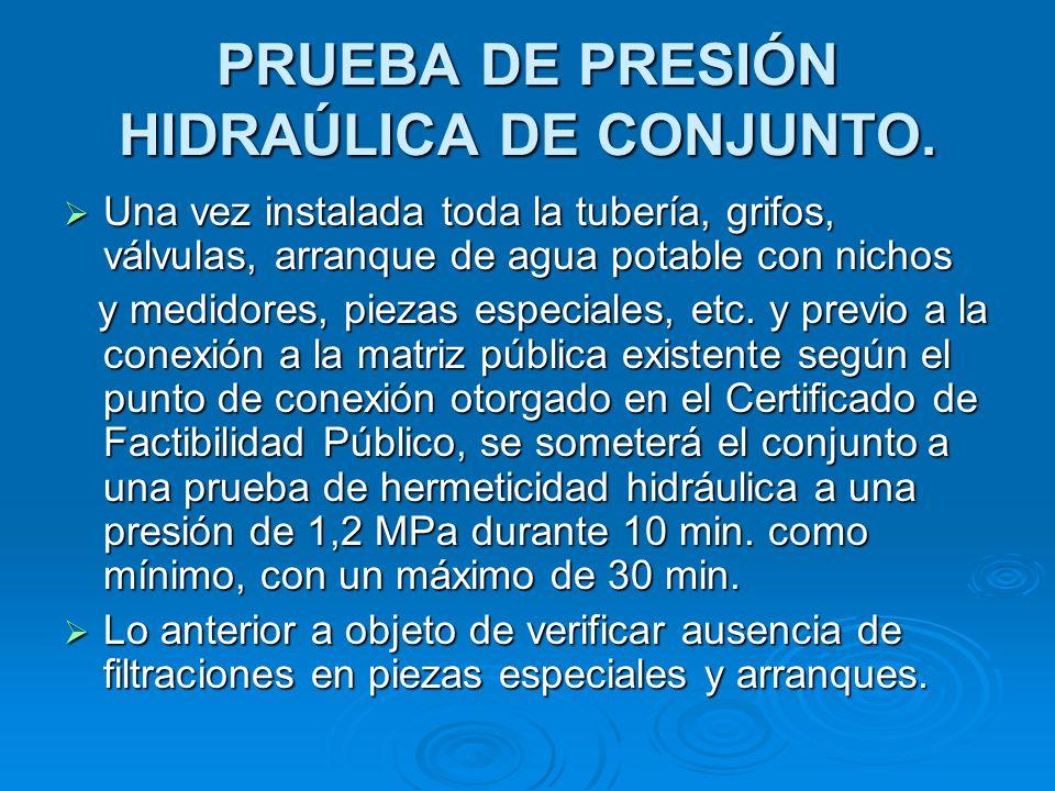 PRUEBA DE PRESIÓN HIDRAÚLICA DE CONJUNTO.