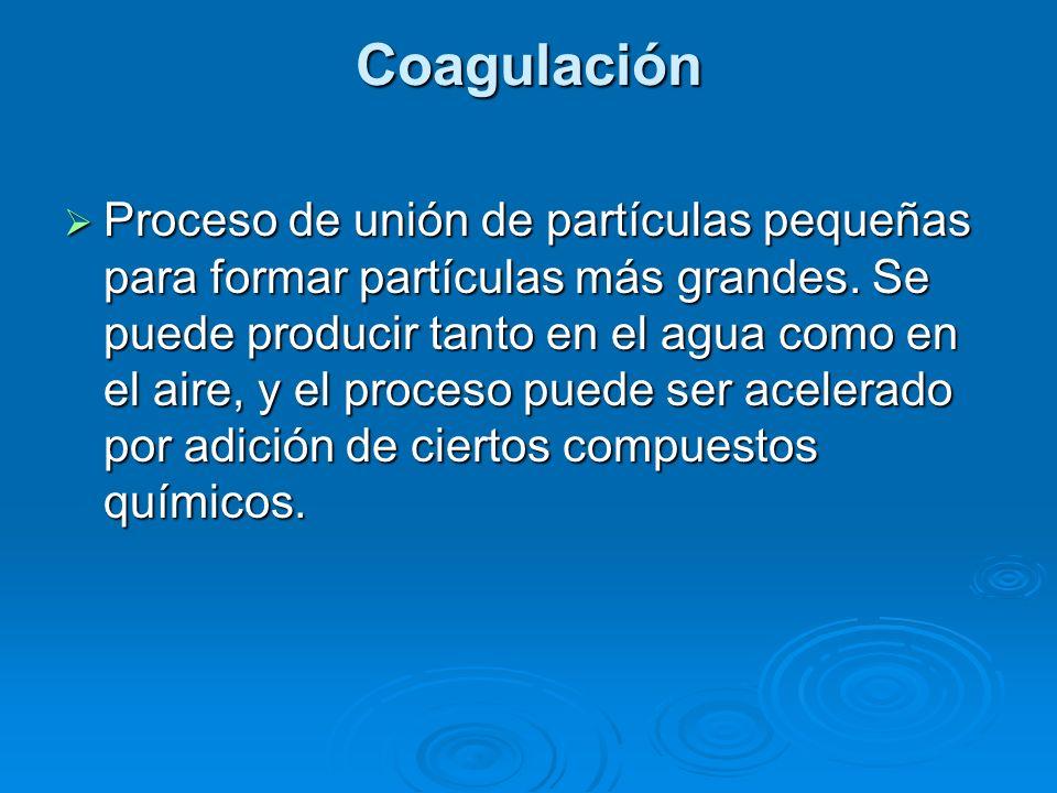 Coagulación Proceso de unión de partículas pequeñas para formar partículas más grandes. Se puede producir tanto en el agua como en el aire, y el proce