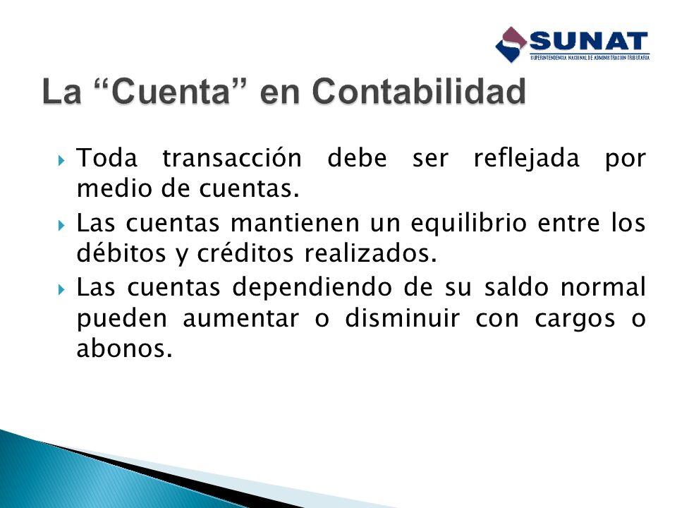 La principal herramienta de la cual dispone la contabilidad para el registro de las operaciones es la cuenta. Se puede definir la cuenta como la mínim