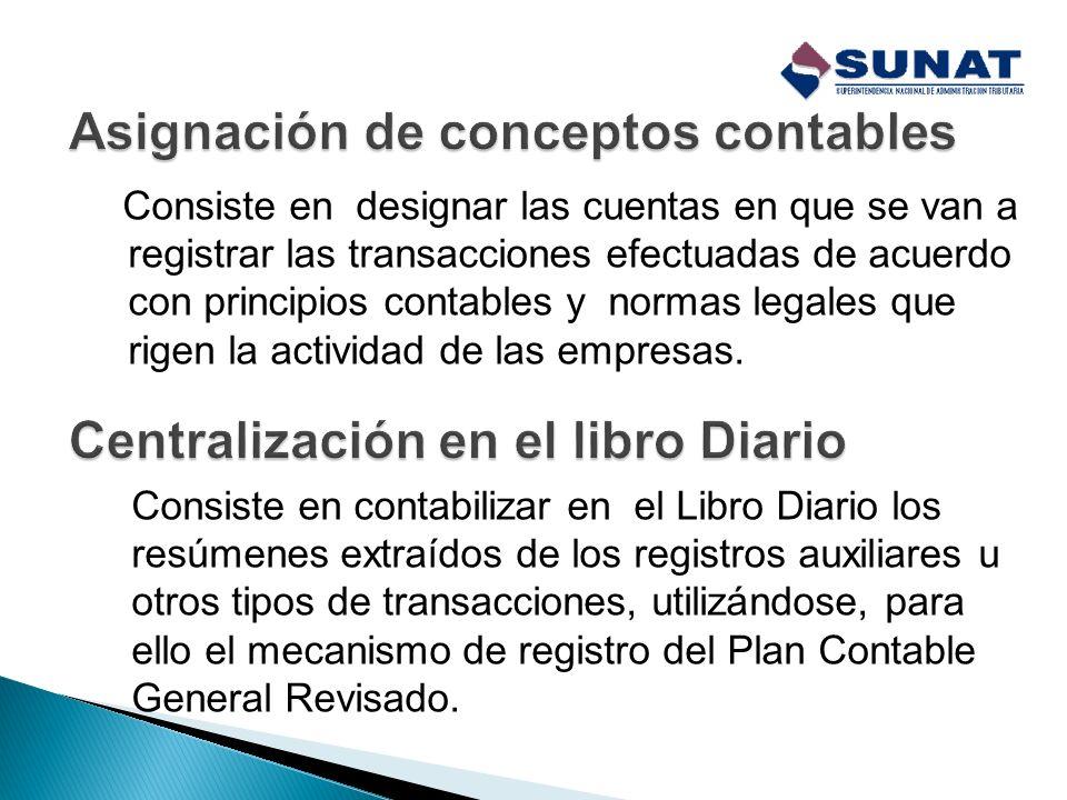 Se refiere al registro de algunas transacciones frecuentes en registros auxiliares, los que se acumulan por períodos mensuales y que al término de cad