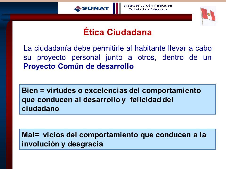 15 Ética Ciudadana La ciudadanía debe permitirle al habitante llevar a cabo su proyecto personal junto a otros, dentro de un Proyecto Común de desarro