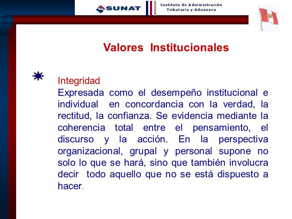 26 Valores Institucionales Integridad Expresada como el desempeño institucional e individual en concordancia con la verdad, la rectitud, la confianza.