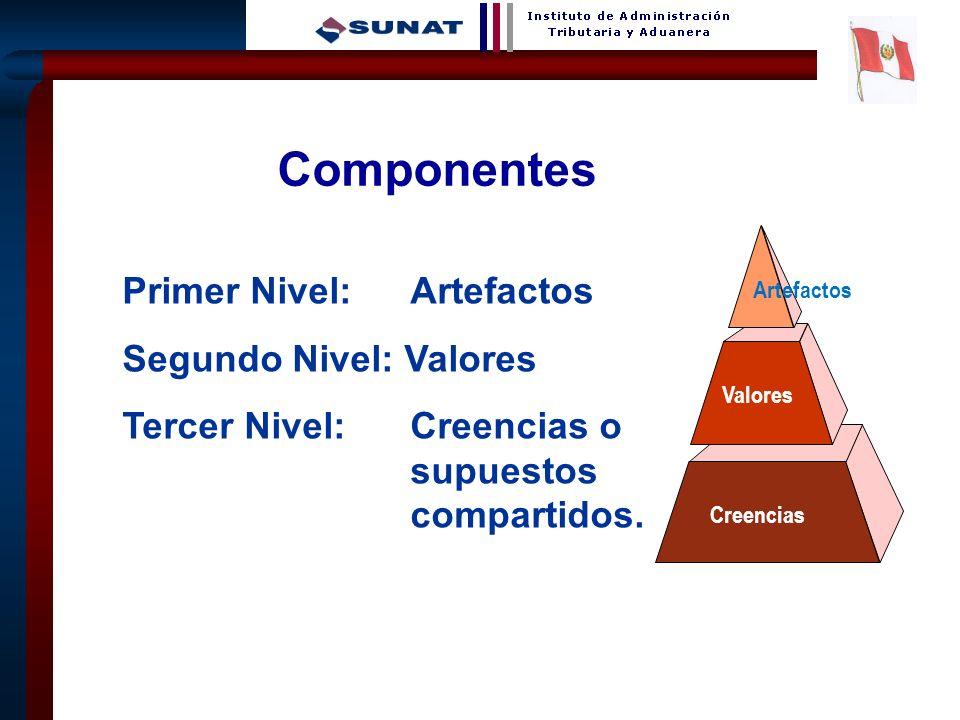 4 Primer Nivel: Artefactos Segundo Nivel: Valores Tercer Nivel: Creencias o supuestos compartidos. Artefactos Valores Creencias Componentes