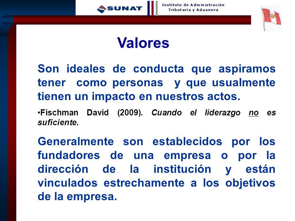 8 Valores Son ideales de conducta que aspiramos tener como personas y que usualmente tienen un impacto en nuestros actos. Fischman David (2009). Cuand