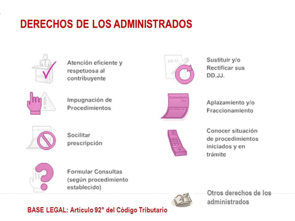 Otros derechos de los administrados BASE LEGAL: Artículo 92° del Código Tributario DERECHOS DE LOS ADMINISTRADOS