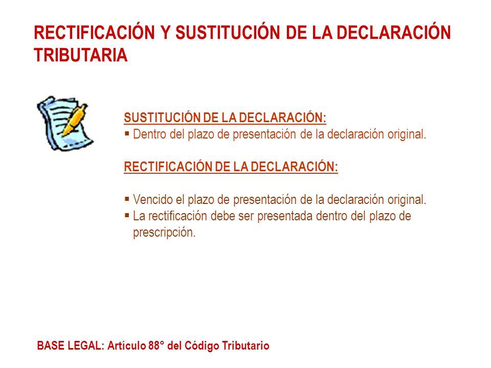 RECTIFICACIÓN Y SUSTITUCIÓN DE LA DECLARACIÓN TRIBUTARIA SUSTITUCIÓN DE LA DECLARACIÓN: Dentro del plazo de presentación de la declaración original. R