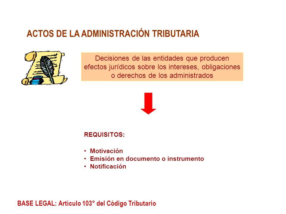 BASE LEGAL: Artículo 103° del Código Tributario ACTOS DE LA ADMINISTRACIÓN TRIBUTARIA REQUISITOS: Motivación Emisión en documento o instrumento Notifi