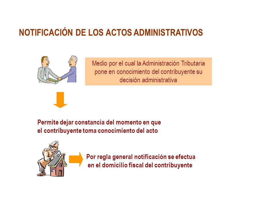 NOTIFICACIÓN DE LOS ACTOS ADMINISTRATIVOS Medio por el cual la Administración Tributaria pone en conocimiento del contribuyente su decisión administra