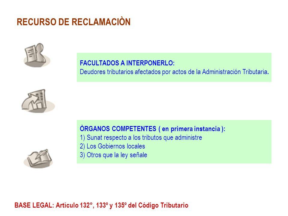 RECURSO DE RECLAMACIÒN FACULTADOS A INTERPONERLO: Deudores tributarios afectados por actos de la Administración Tributaria. ÒRGANOS COMPETENTES ( en p