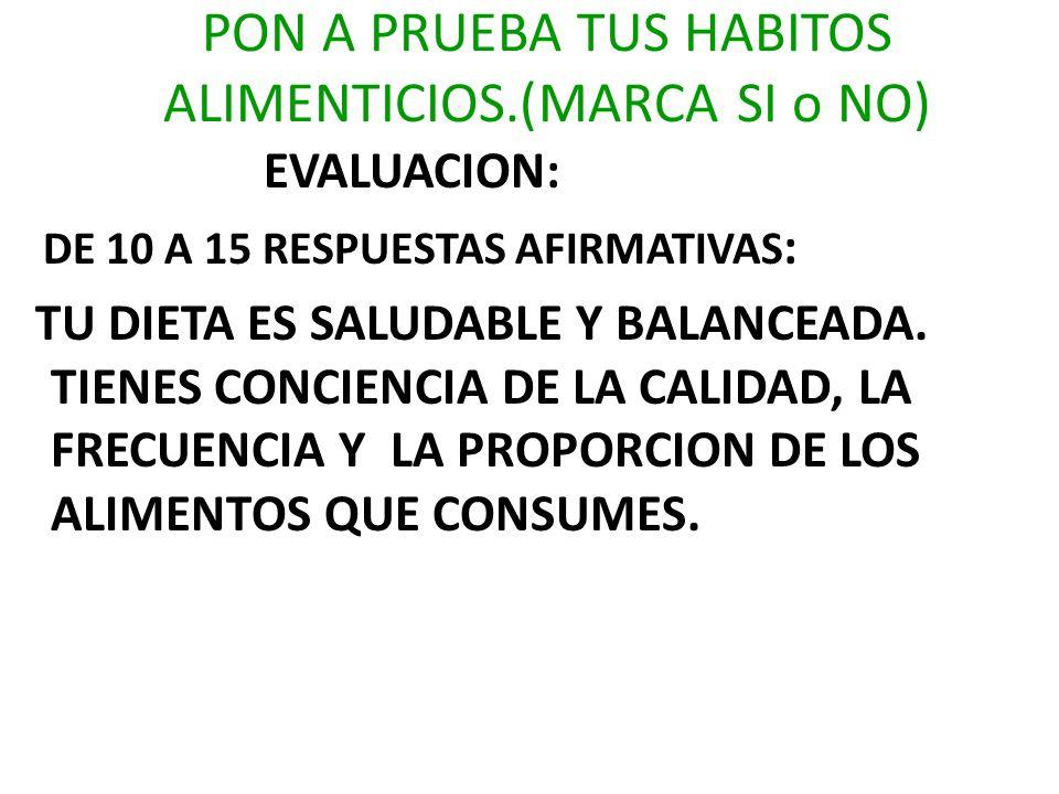 EVALUACION: DE 05 A 10 RESPUESTAS AFIRMATIVAS : TU DIETA PUEDE LLEGAR A SER SALUDABLE SI CORRIGES ALGUNOS HABITOS ALIMENTARIOS.