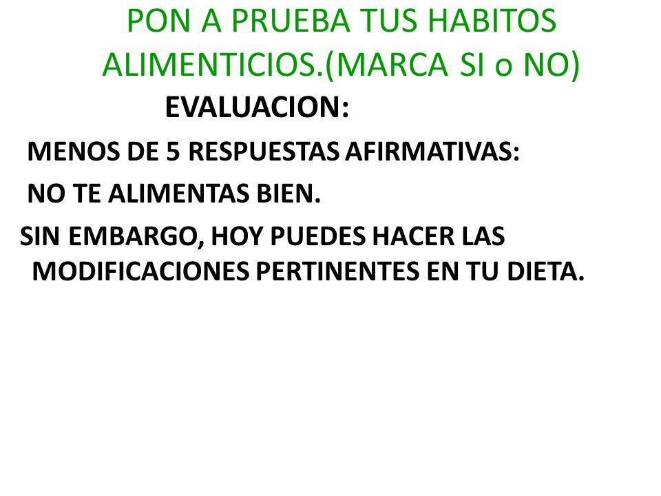 PON A PRUEBA TUS HABITOS ALIMENTICIOS.(MARCA SI o NO) EVALUACION: MENOS DE 5 RESPUESTAS AFIRMATIVAS: NO TE ALIMENTAS BIEN. SIN EMBARGO, HOY PUEDES HAC