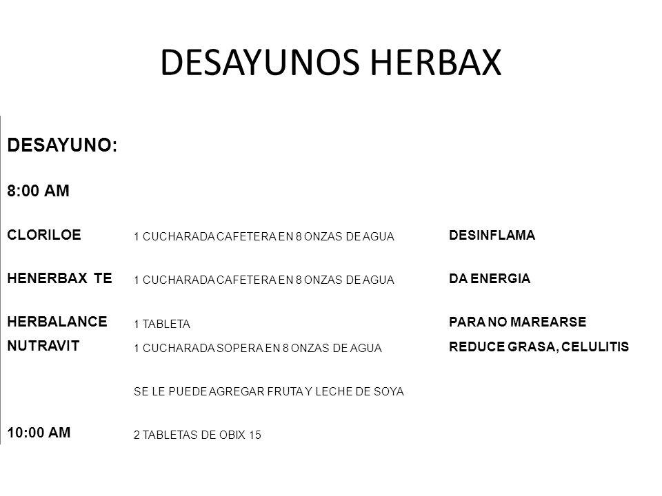 DESAYUNOS HERBAX DESAYUNO: 8:00 AM CLORILOE 1 CUCHARADA CAFETERA EN 8 ONZAS DE AGUA DESINFLAMA HENERBAX TE 1 CUCHARADA CAFETERA EN 8 ONZAS DE AGUA DA
