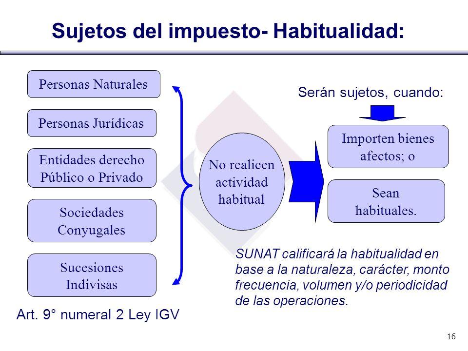 Art. 9° numeral 2 Ley IGV Sujetos del impuesto- Habitualidad: Personas Naturales Personas Jurídicas Entidades derecho Público o Privado Sociedades Con