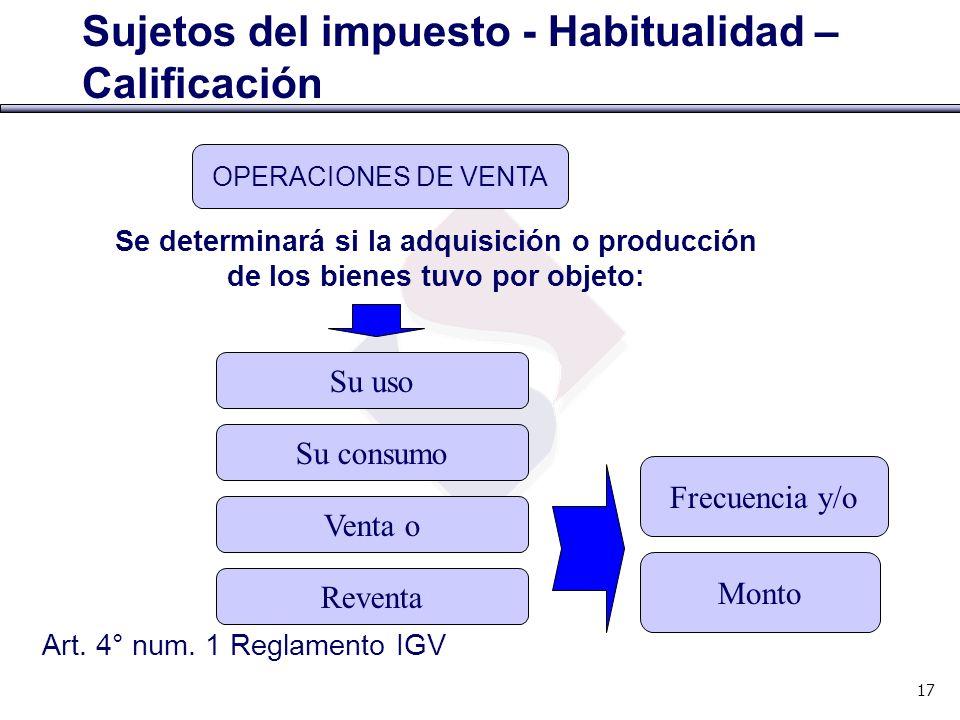 Art. 4° num. 1 Reglamento IGV Sujetos del impuesto - Habitualidad – Calificación OPERACIONES DE VENTA Su uso Frecuencia y/o Se determinará si la adqui