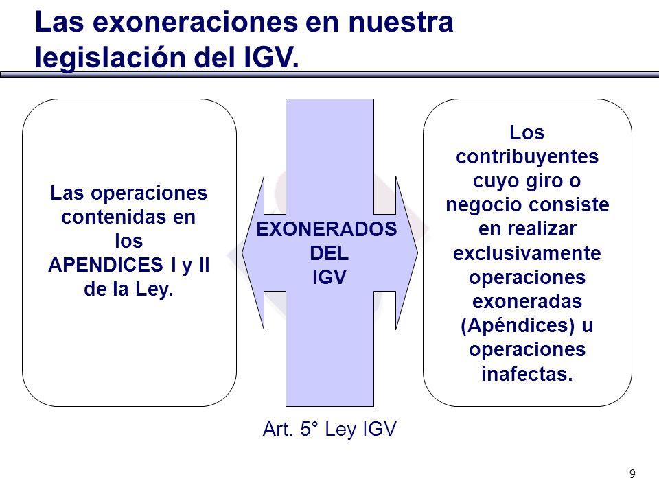 Las exoneraciones en nuestra legislación del IGV. Las operaciones contenidas en los APENDICES I y II de la Ley. Los contribuyentes cuyo giro o negocio