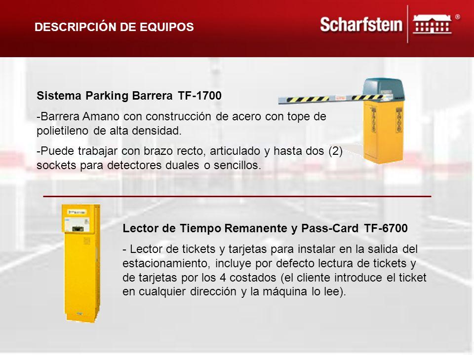 Sistema Parking Barrera TF-1700 -Barrera Amano con construcción de acero con tope de polietileno de alta densidad. -Puede trabajar con brazo recto, ar